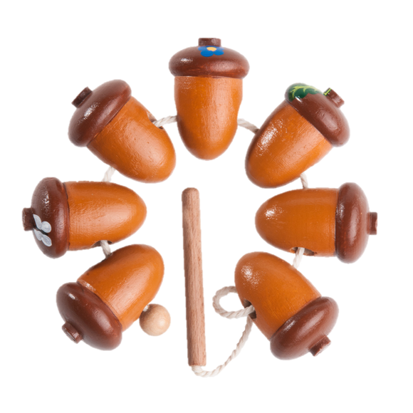Wooden Acorns Lacing toy - poppybaby