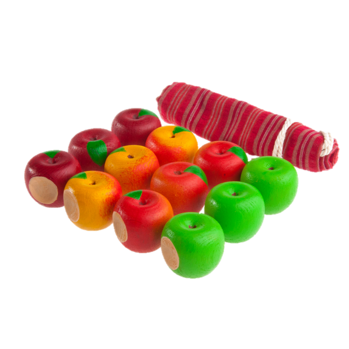 Educational Apples Counting set (Set of 12 - 4 different colors with a linen storage bag) - PoppyBabyCo