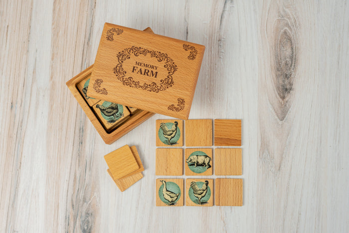 Wooden Memory Matching Game in a Wooden Box, Farm Animals