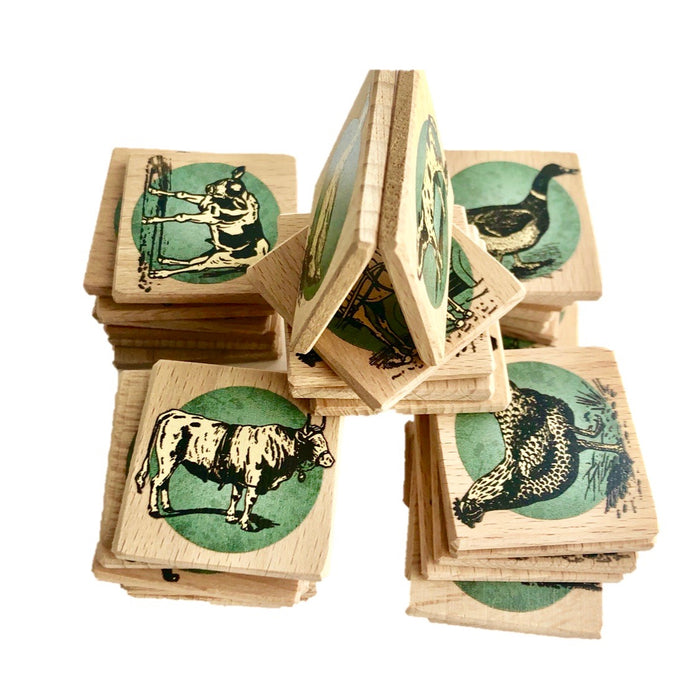 Wooden Memory Matching Game with a Linen Storage Bag, Farm Animals - PoppyBabyCo
