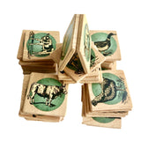 Wooden Memory Matching Game with a Linen Storage Bag, Farm Animals - poppybaby