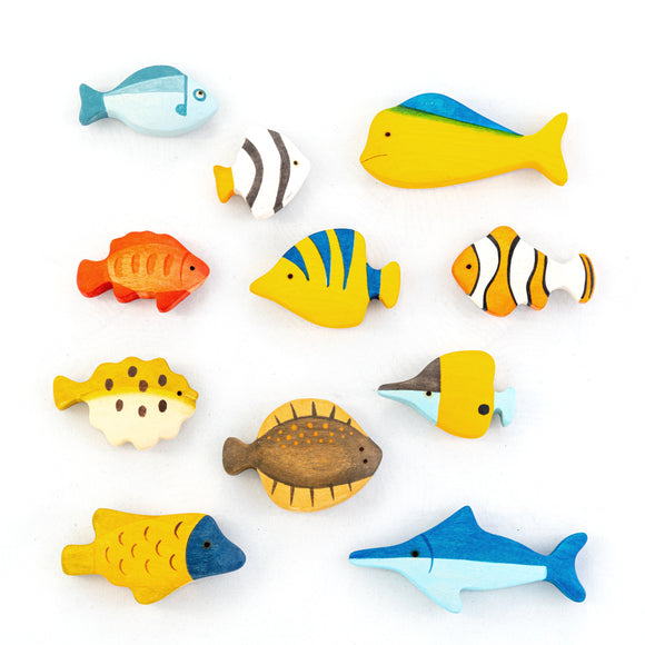 Waldorf Wooden Fish set- 11 pieces - PoppyBabyCo