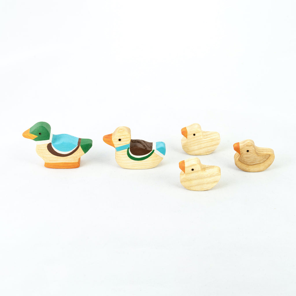 Waldorf Wooden Ducks Set painted- 5 pieces