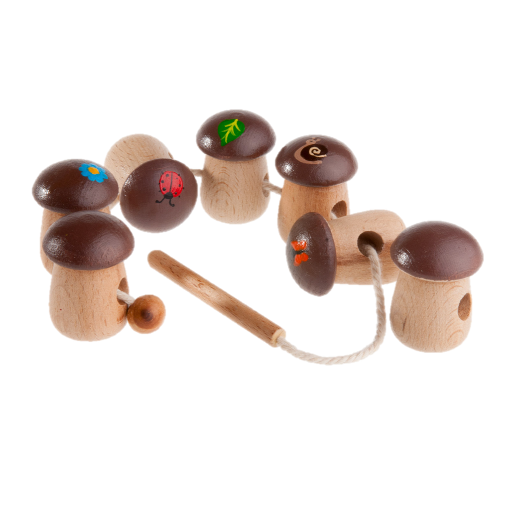 Wooden Mushrooms Lacing toy - poppybaby