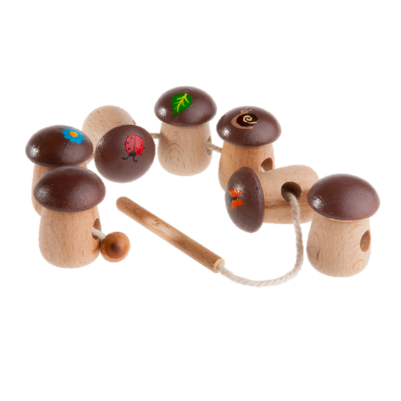 Wooden Mushrooms Lacing toy - PoppyBabyCo