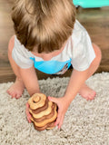 Wooden stacking toy in flower shape from 2 types of wood - PoppyBabyCo