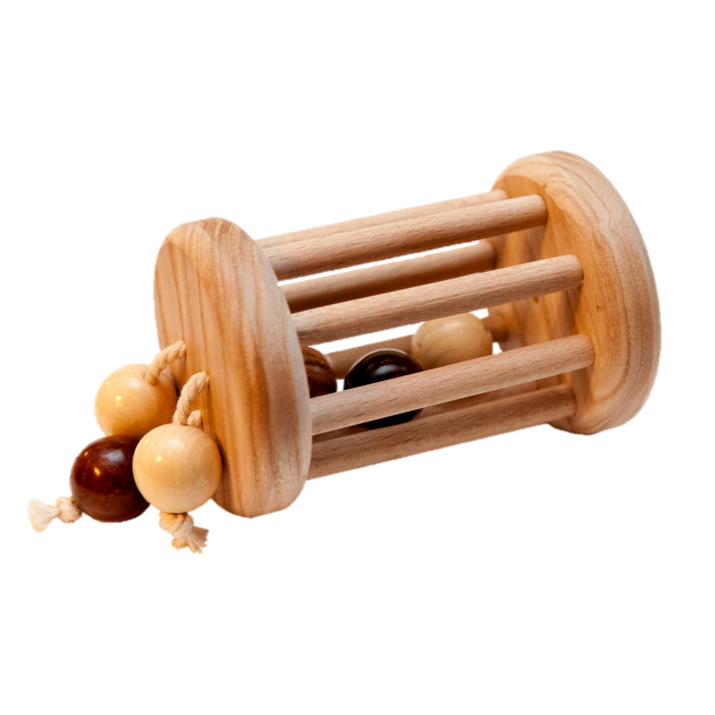 Montessori rolling rattle Wood Toy Ball Cylinder - PoppyBabyCo