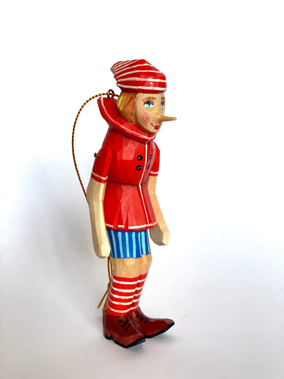 Hand-Carved Buratino Pinocchio Christmas Ornament