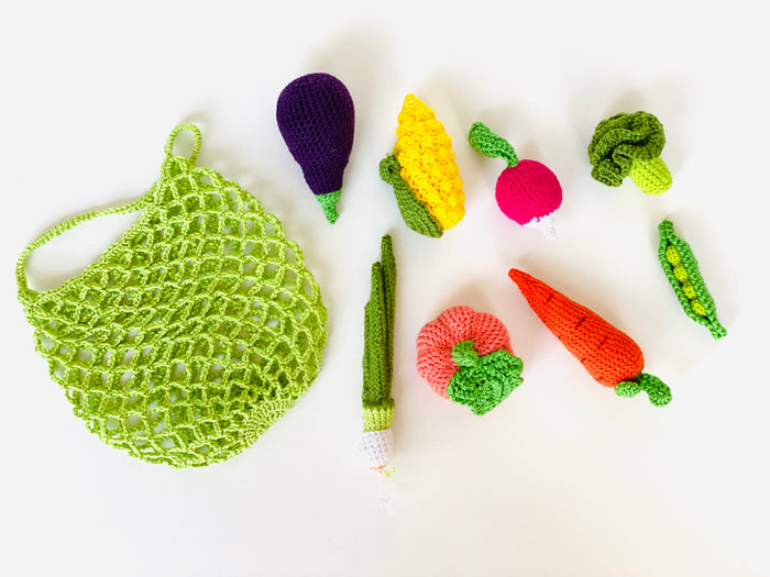 Crochet Vegetables set with a bag