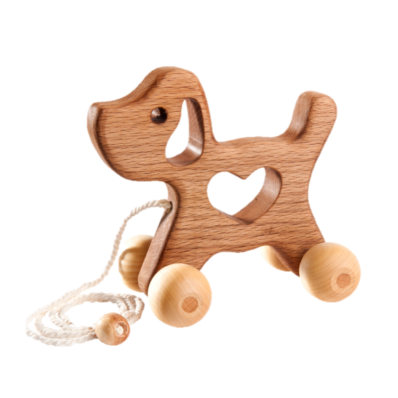 Wooden Dog Pull toy - poppybaby