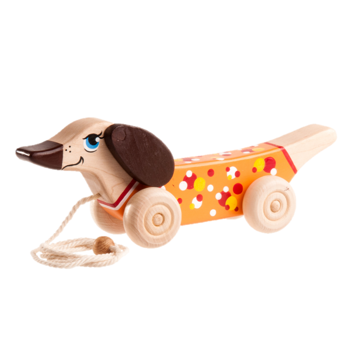 Wooden Dachshund Dog Pull toy painted - PoppyBabyCo