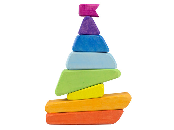 Rainbow Sailboat Stacker toy
