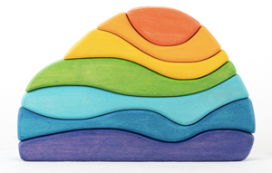 Waves Wooden Sculptural Blocks Stacker Puzzle Rainbow Toy
