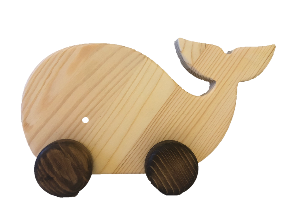 Wooden Whale Pull Along Toy - poppybaby