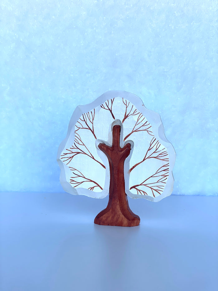 Hand carved Small World Winter Play Tree