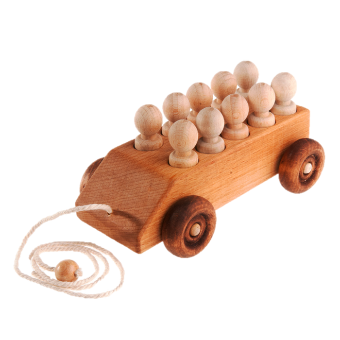 Car pull along toy with 10 sorting wooden peg people - PoppyBabyCo