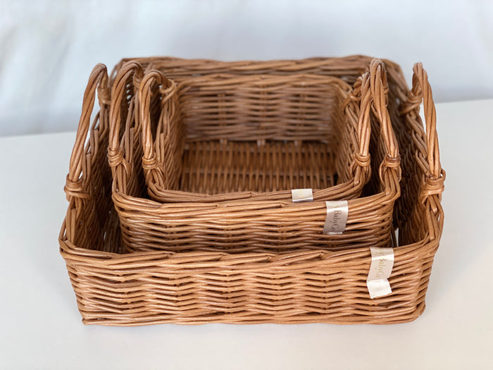 Wicker toy storage solution Basket set of 3