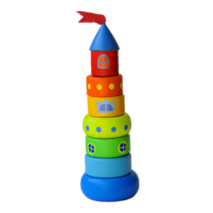 Wooden Stacking Toy - Small Castle - PoppyBabyCo