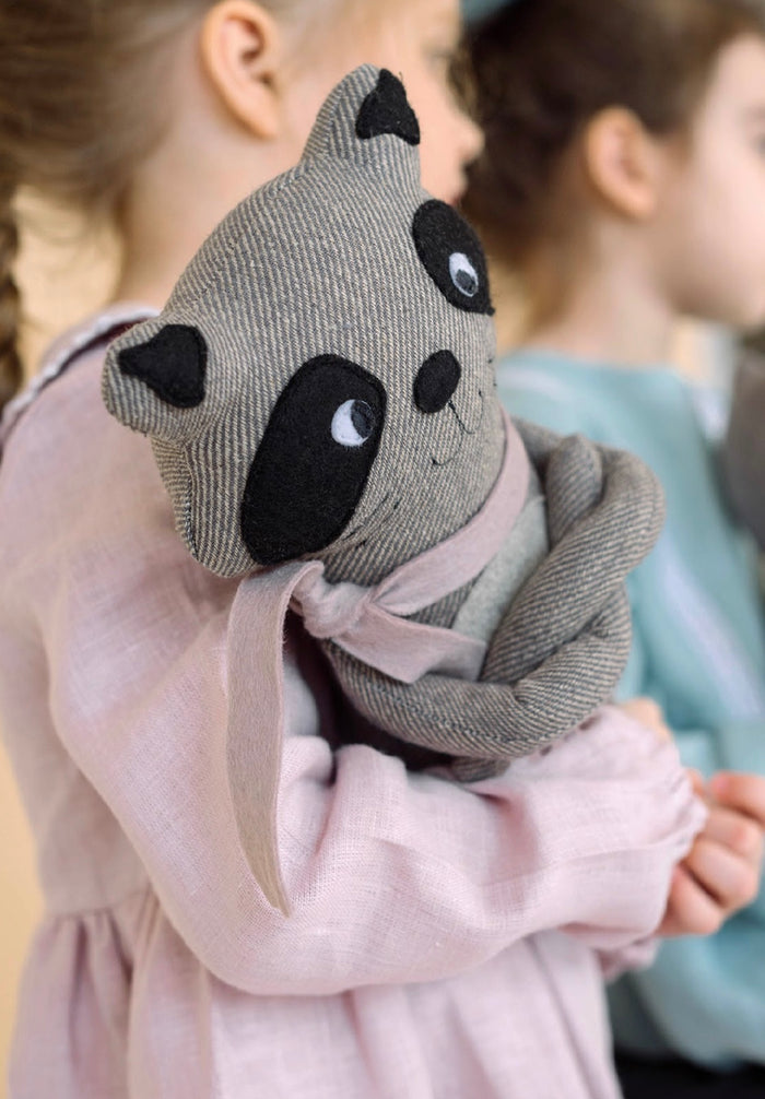 Handmade Stuffed Raccoon Toy