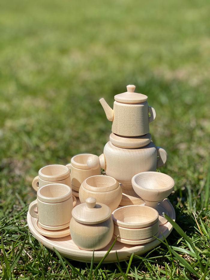 Untreated Wood Miniature Tea set