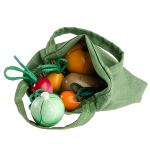Wooden Vegetable Toys in a cloth Tote - poppybaby