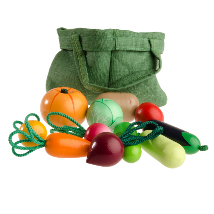 Wooden Vegetable Toys in a cloth Tote - PoppyBabyCo