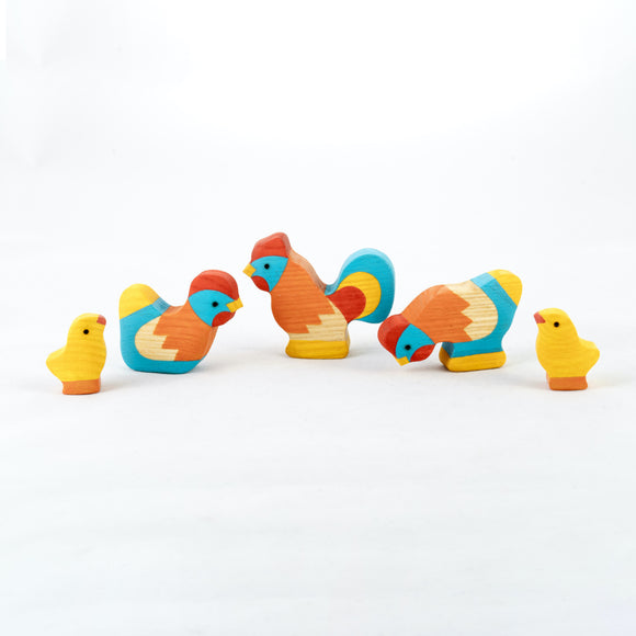 Waldorf Wooden Rooster with Chickens Set painted- 5 pieces