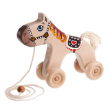 Wooden Horse Pull toy painted - poppybaby