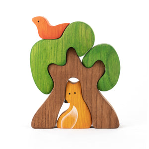 New Educational Wooden Tree Puzzle toy with Fox - PoppyBabyCo