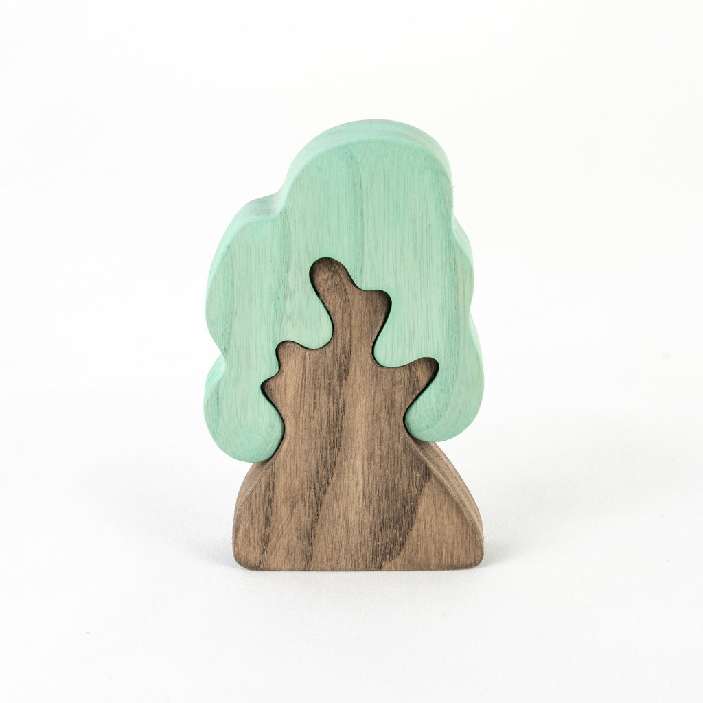 Waldorf wooden toy Winter Oak Tree puzzle - PoppyBabyCo