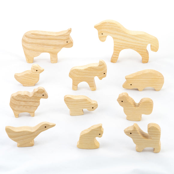 Waldorf Wooden Natural Farm Animals Set - 11 pieces