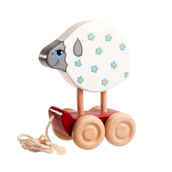 Wooden Sheep Pull toy painted - poppybaby