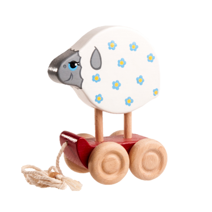 Wooden Sheep Pull toy painted - PoppyBabyCo