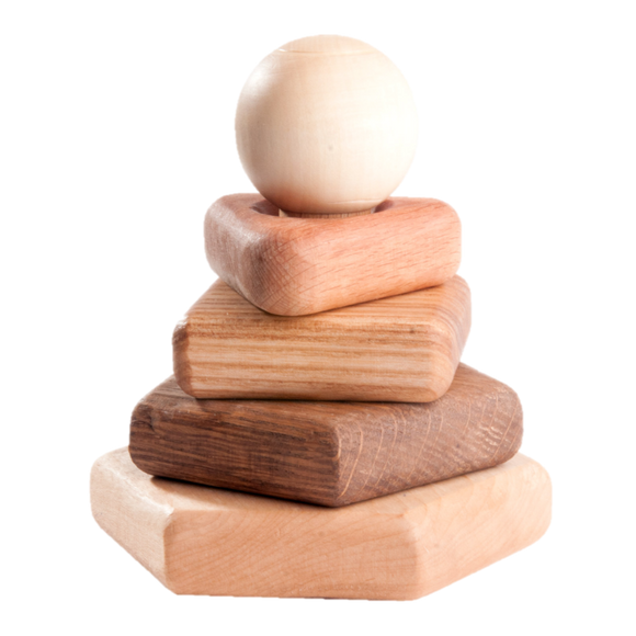 Wooden stacking toy in different shapes from 5 types of wood, large - poppybaby