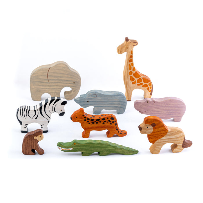 Waldorf Safari Set of 9 Animals painted - PoppyBabyCo