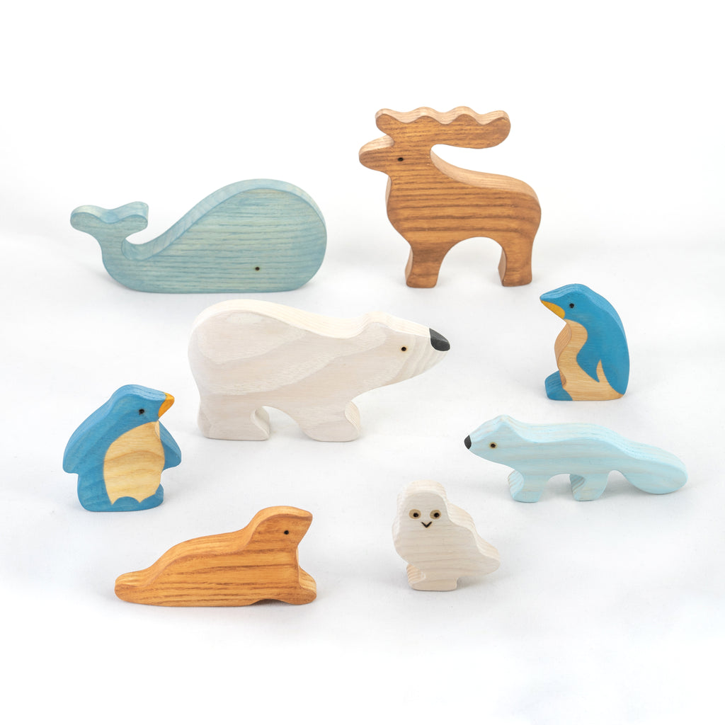Waldorf Wooden Arctic Animals - Set of 8 Hand-Painted Polar Animals - poppybaby