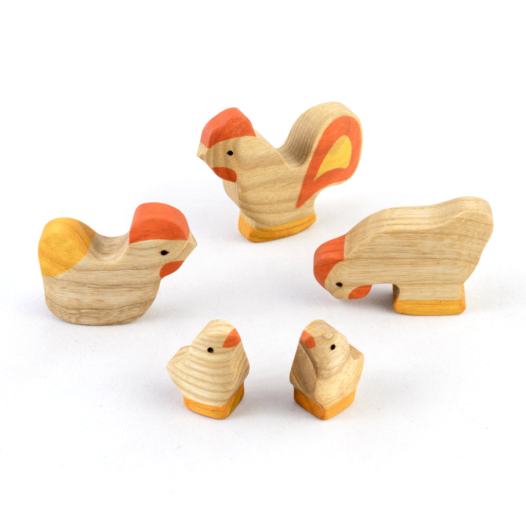 Waldorf  Natural Wooden Rooster with Chickens Set - 5 pieces - PoppyBabyCo
