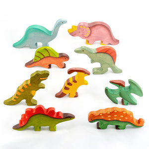 Waldorf Wooden Dinosaurs set painted- 6 pieces - poppybaby