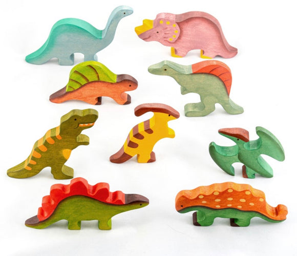 Wooden Dinosaur toys set painted- 9 pieces