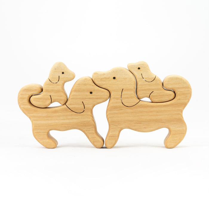 Waldorf Wooden Dogs family of 3 puzzle set - PoppyBabyCo