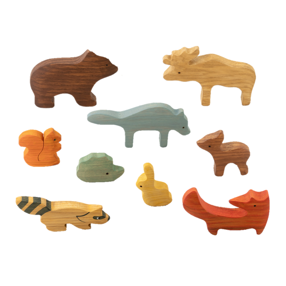 Wooden set of 9 Animals from the forest painted
