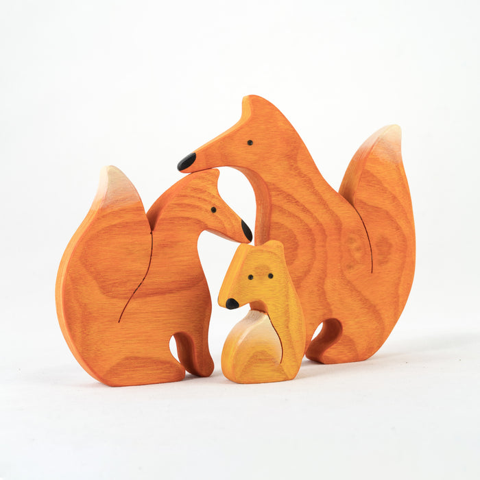Waldorf Wooden Foxes family of 3 puzzle set - PoppyBabyCo
