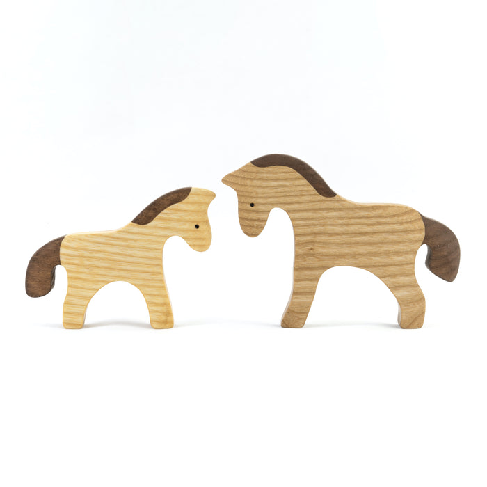 Waldorf Wooden Horses Set painted- 2 pieces