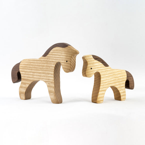 Wooden Horse figurines Set painted- 2 pieces