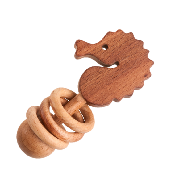 Organic Wooden Rattle-Teether Seahorse - PoppyBabyCo