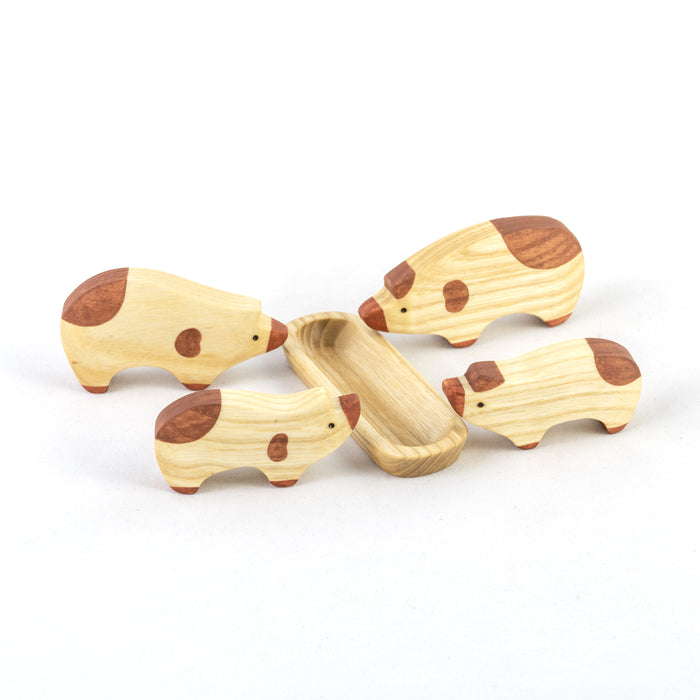 Waldorf Wooden Pigs Set painted- 4 pieces