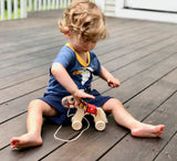 Wooden Horse Pull toy painted - PoppyBabyCo