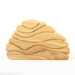 Natural Waves Wooden Sculptural Blocks Stacker Puzzle - PoppyBabyCo
