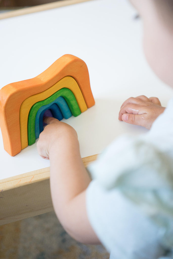 Wooden Stacking toy Rainbow Caves Sculptural Blocks - PoppyBabyCo