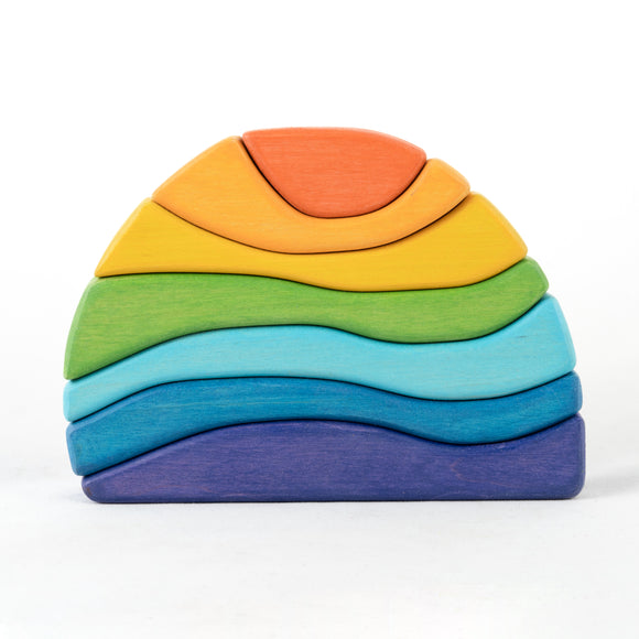 Stone Wooden Sculptural Blocks Stacker Puzzle Rainbow Toy - PoppyBabyCo
